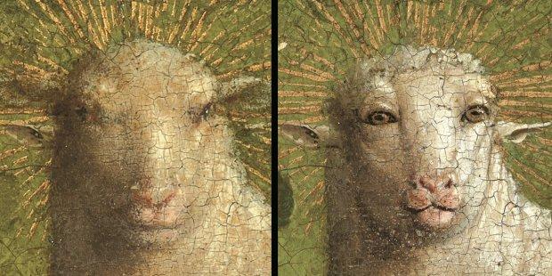 Ecco com'era il vero muso dell'Agnello Mistico di van Eyck. Il restauro rivela un aspetto quasi umano
