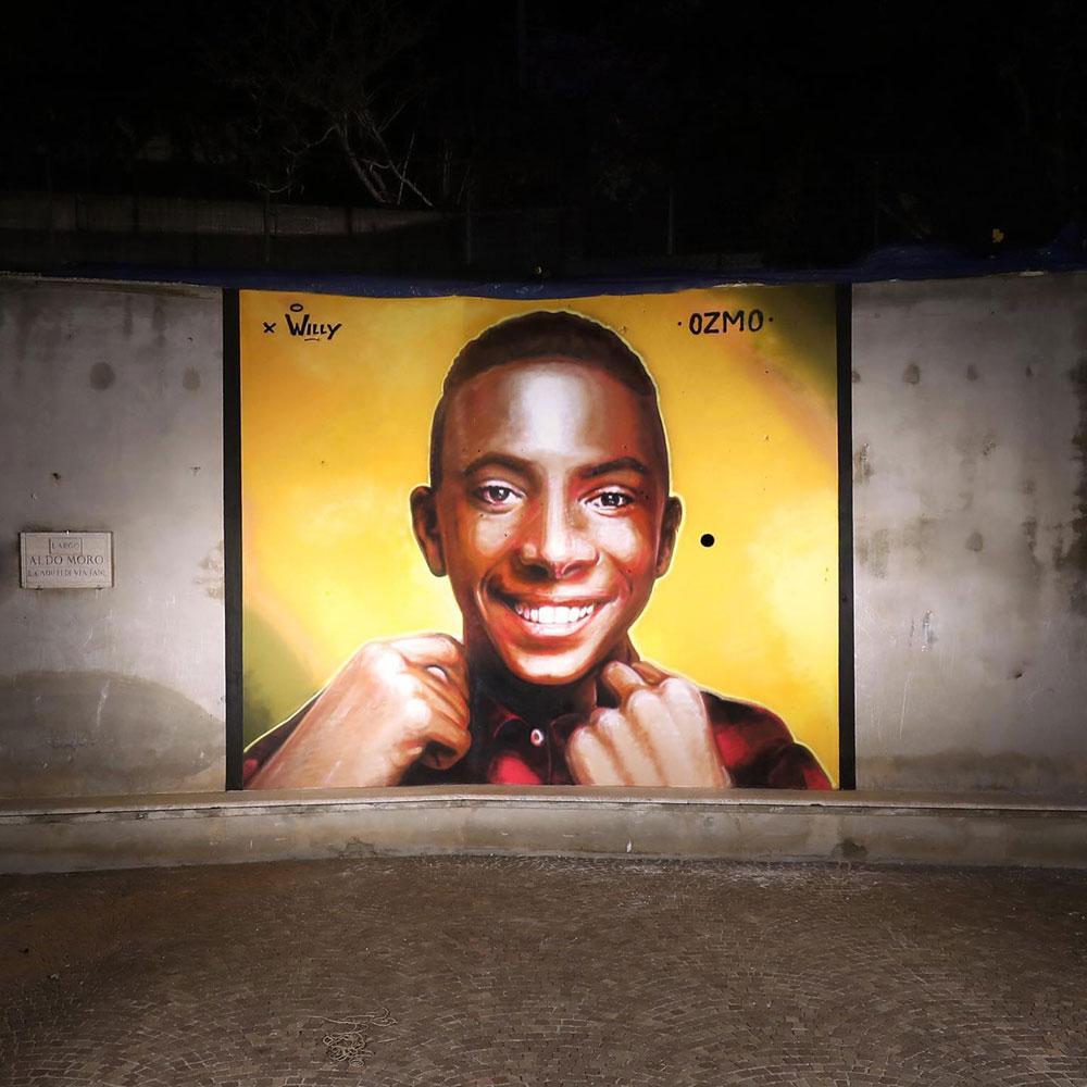 Per Willy un grande murale realizzato da Ozmo a Paliano
