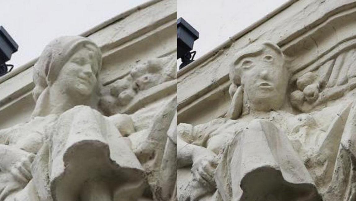 Un altro restauro ignorante in Spagna: sfigurato rilievo degli anni Venti