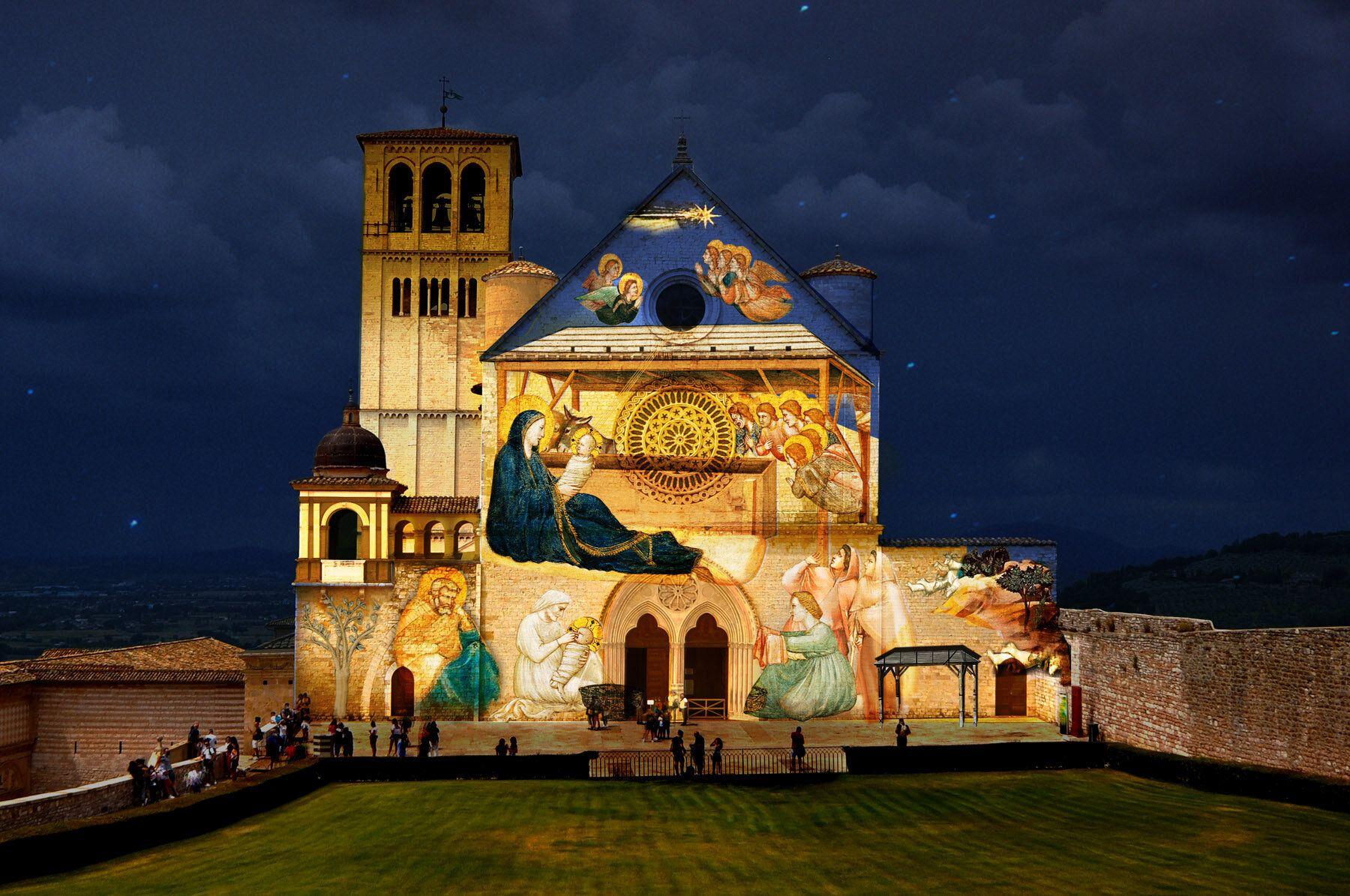 Assisi, per Natale videoproiezioni degli affreschi di Giotto sulla facciata della Basilica
