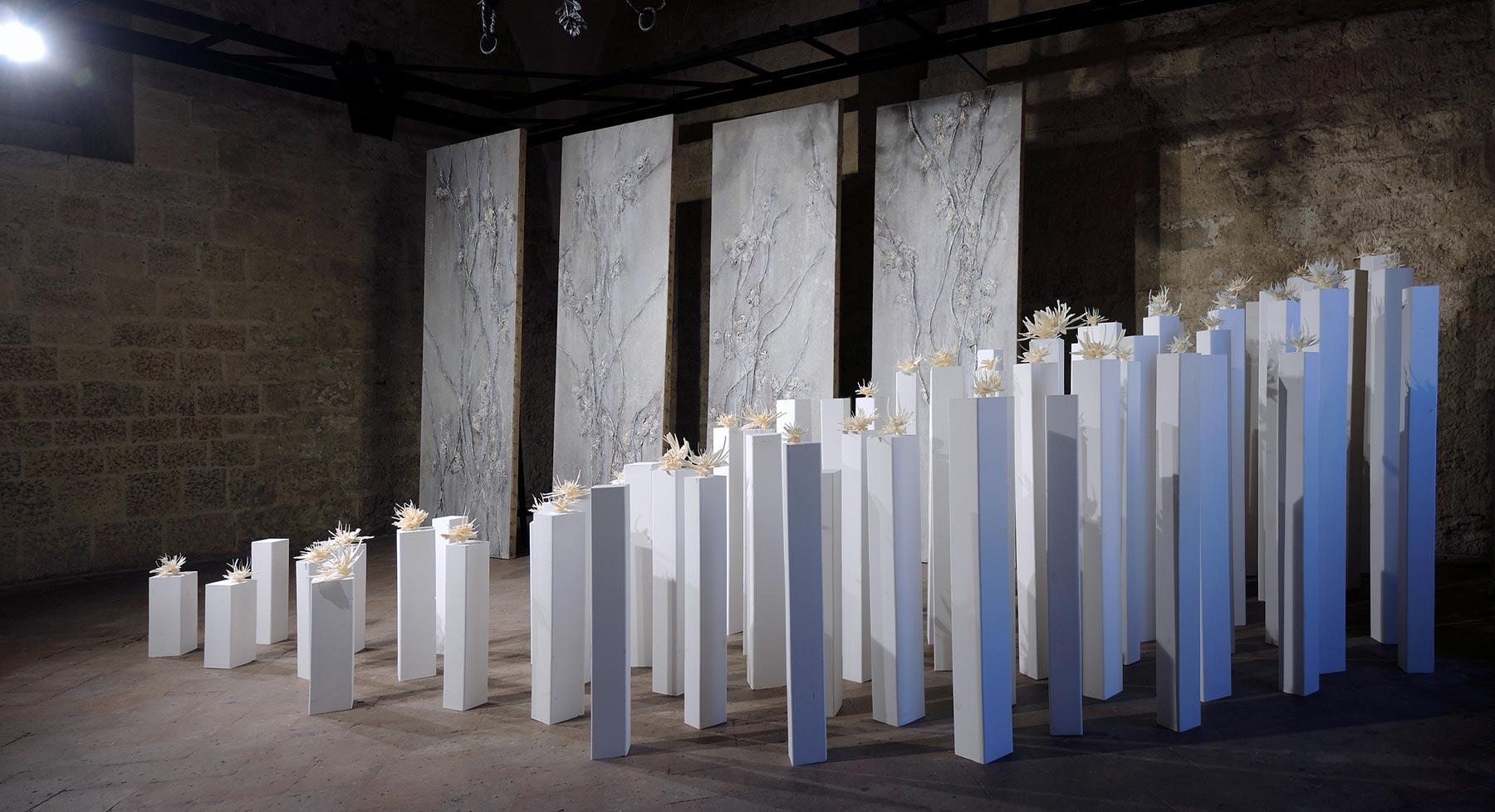 Volterra, Palazzo dei Priori si riempie di fiori. È l'opera di due artiste donne