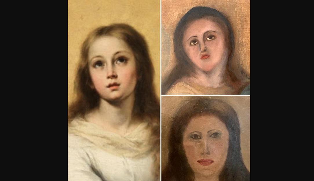 I restauratori spagnoli colpiscono ancora: sfigurata una Vergine Maria, copia da Murillo