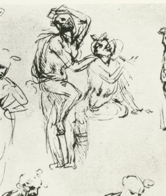Leonardo, Studi di figura per l'Adorazione del Magi (part.). Parigi, Bibliothèque de l'Ecole Superieure des Beaux Arts