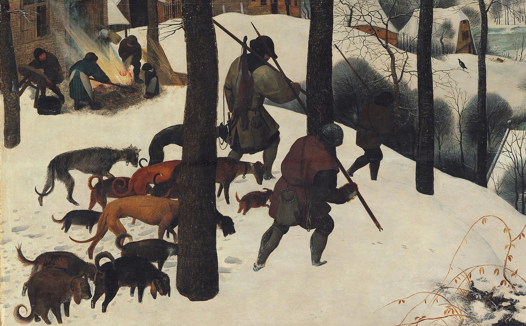 Pieter Bruegel, Cacciatori nella neve, dettaglio dei cacciatori