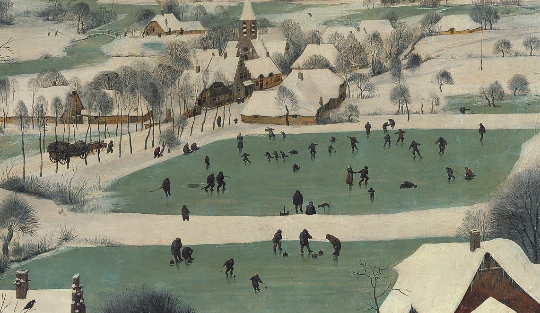 Pieter Bruegel, Cacciatori nella neve, dettaglio del villaggio e del laghetto sullo sfondo