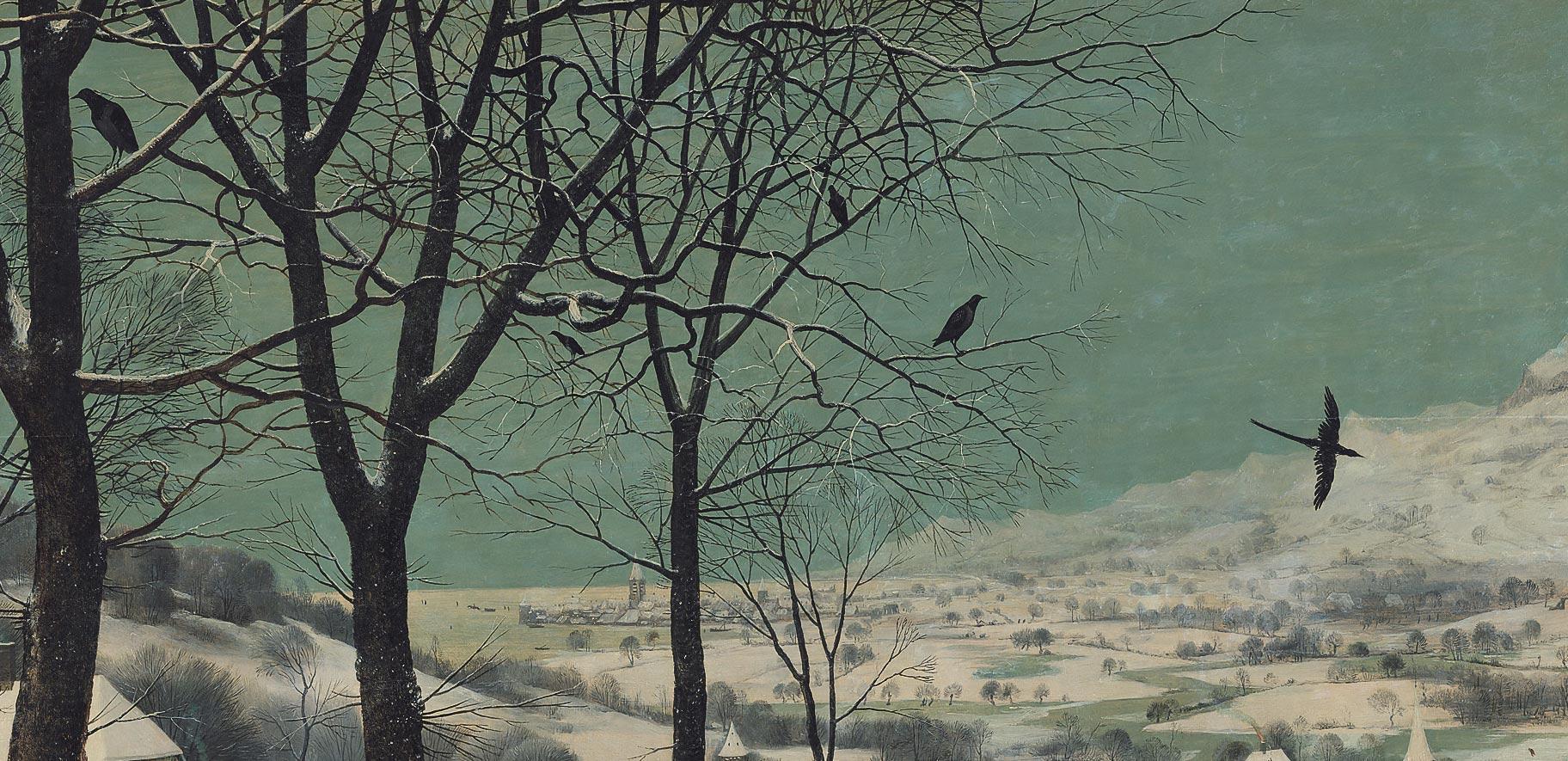Pieter Bruegel, Cacciatori nella neve, dettaglio dei corvi