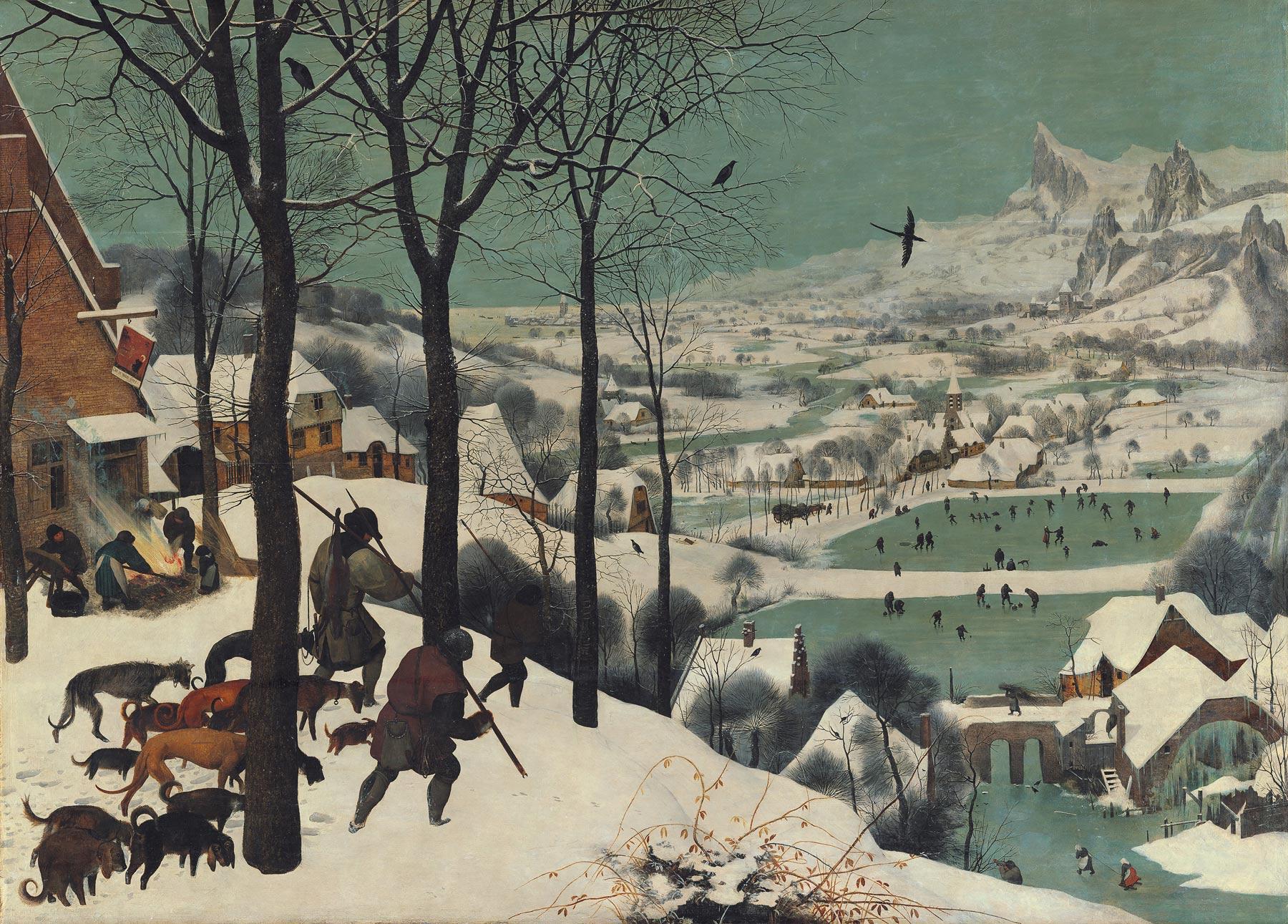 Pieter Bruegel, Cacciatori nella neve (1565; olio su tavola, 116,5 x 162 cm; Vienna, Kunsthistorisches Museum)