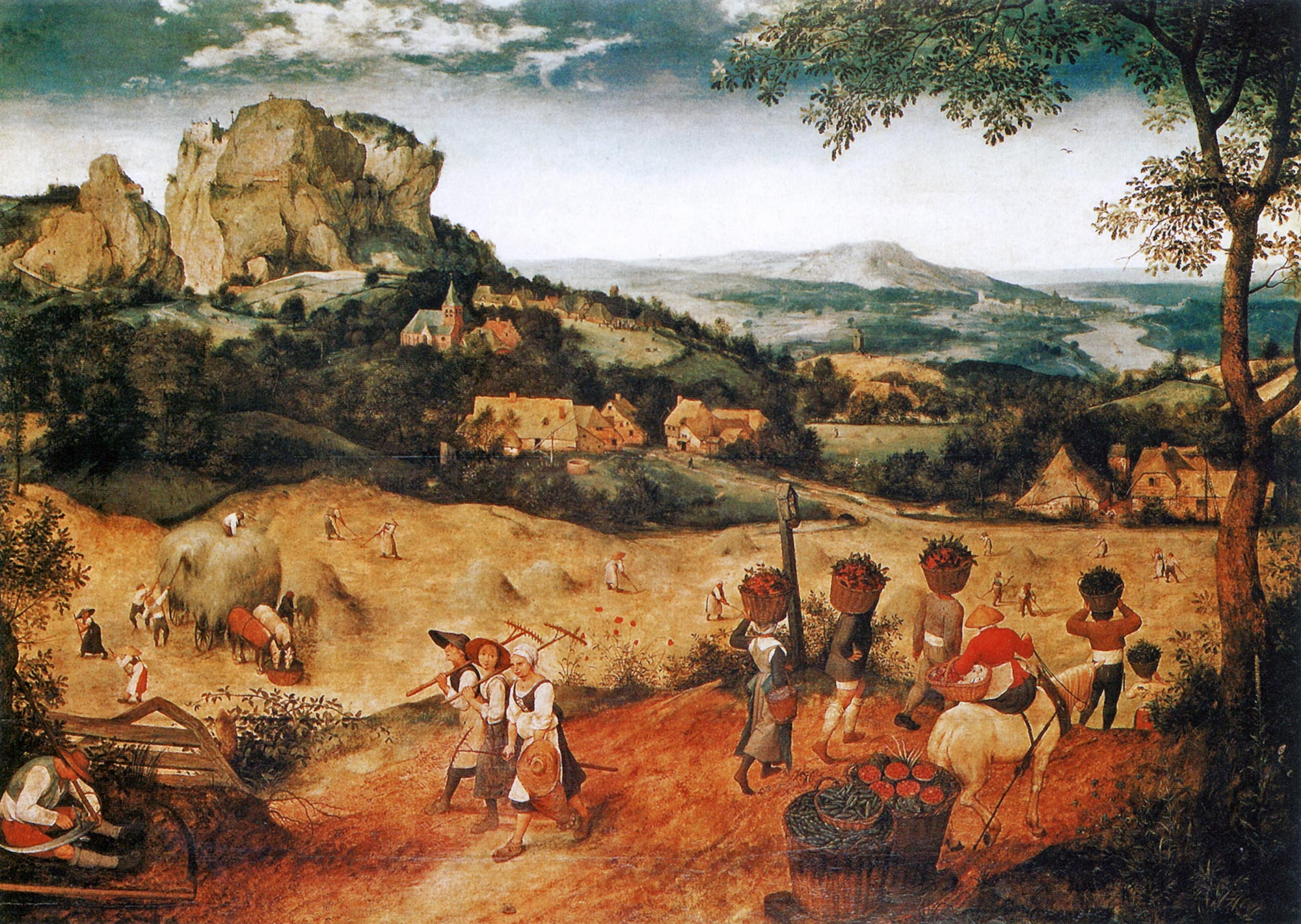 Pieter Bruegel, La fienagione (1565; olio su tavola, 117 x 161 cm; Praga, Národní Galerie)