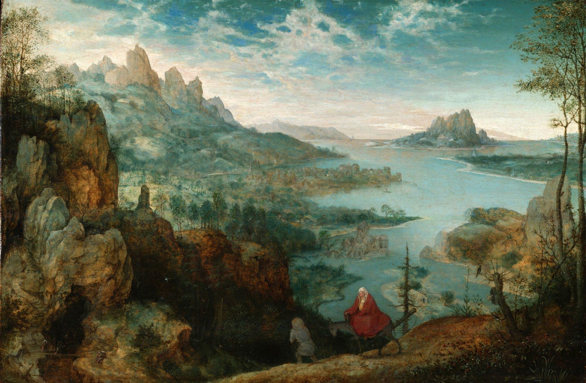 Pieter Bruegel, Paesaggio con fuga in Egitto (1563; olio su tavola, 37,1 x 55,6 cm; Londra, Courtauld Institute)