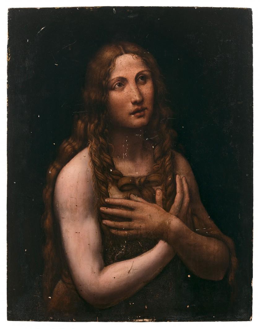 Gian Giacomo Caprotti detto il Salaì (?), Maddalena penitente (1515-1520 circa; olio su tavola, 65 x 51 cm; Collezione privata)