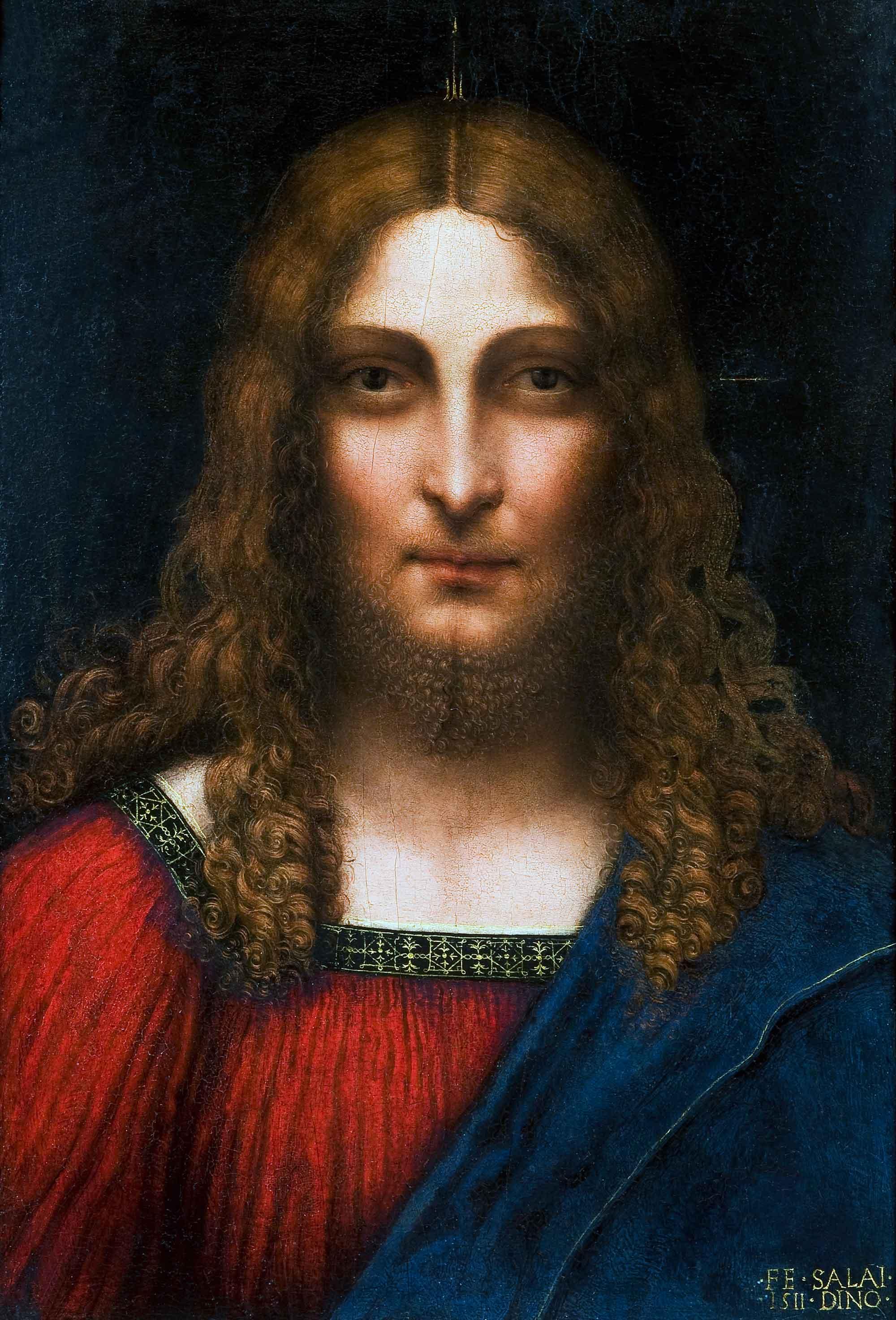 Gian Giacomo Caprotti detto il Salaì, Testa di Cristo redentore (1511; olio su tavola, 57,5 x 37,5 cm; Milano, Pinacoteca Ambrosiana)