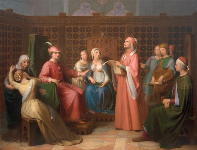 Andrea Pierini, Dante legge la Divina Commedia alla corte di Guido Novello (1850; olio su tela, 140 x 183 cm; Firenze, Gallerie degli Uffizi, Palazzo Pitti, Galleria d'Arte Moderna)