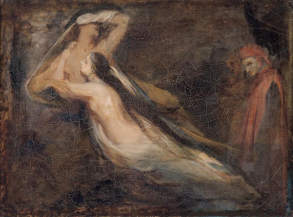 Ary Scheffer, Le ombre di Paolo e Francesca appaiono a Dante e Virgilio (1835; olio su tela, 24,5 x 32,5 cm; Clermont-Ferrand, Musée d'Art Roger Quilliot)