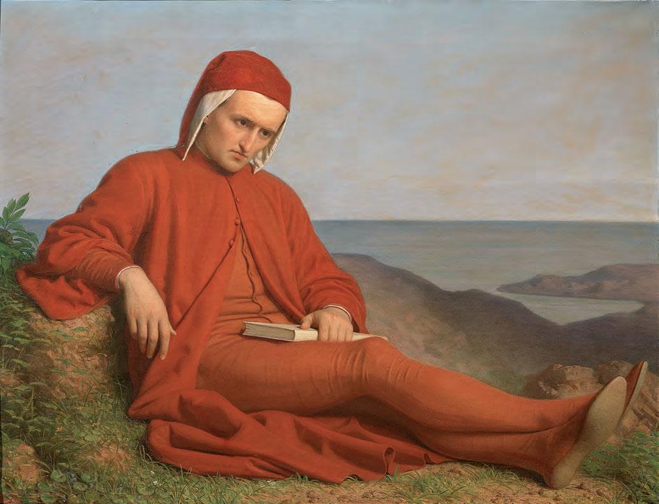 Domenico Petarlini, Dante in esilio (1860 circa; olio su tela, 76 x 96 cm; Firenze, Gallerie degli Uffizi, Palazzo Pitti, Galleria d'Arte Moderna)