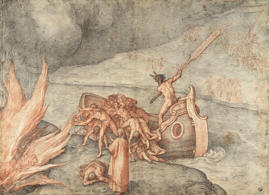 Federico Zuccari, Caronte. Terremoto e svenimento di Dante (Inf., III) (1585-1588 circa; pietra nera e rossa su carta bianca vergata, 448 x 615 mm; Firenze, Gallerie degli Uffizi, Gabinetto dei Disegni e delle Stampe)