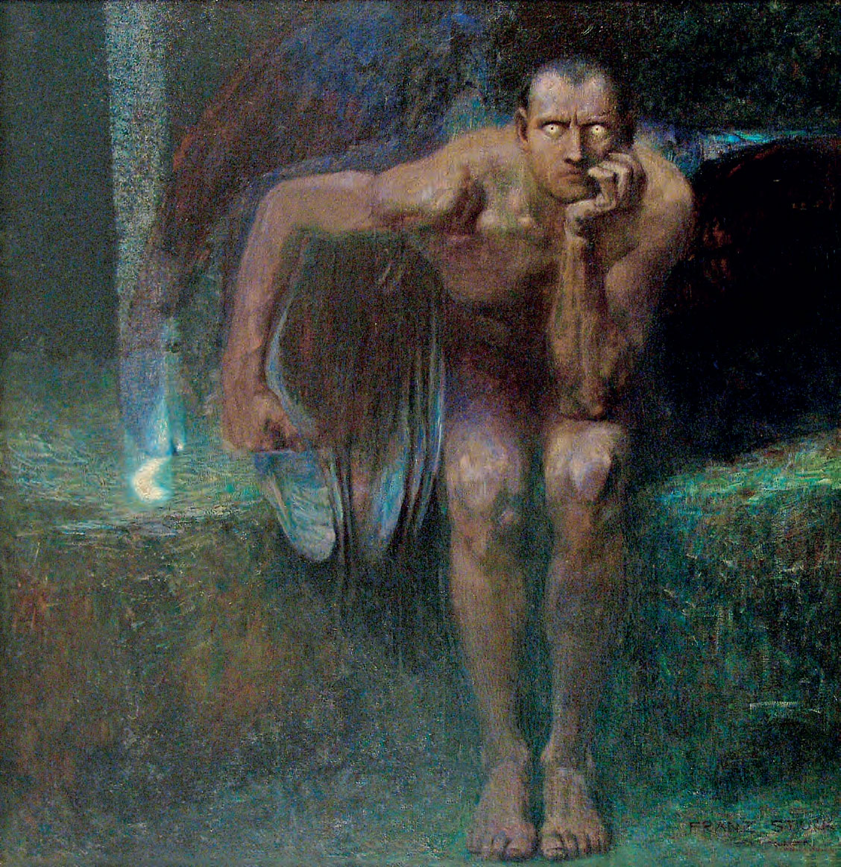 Franz von Stuck, Lucifero (1889-1890; olio su tela, 161 x 152,5 cm; Sofia, Galleria Nazionale)