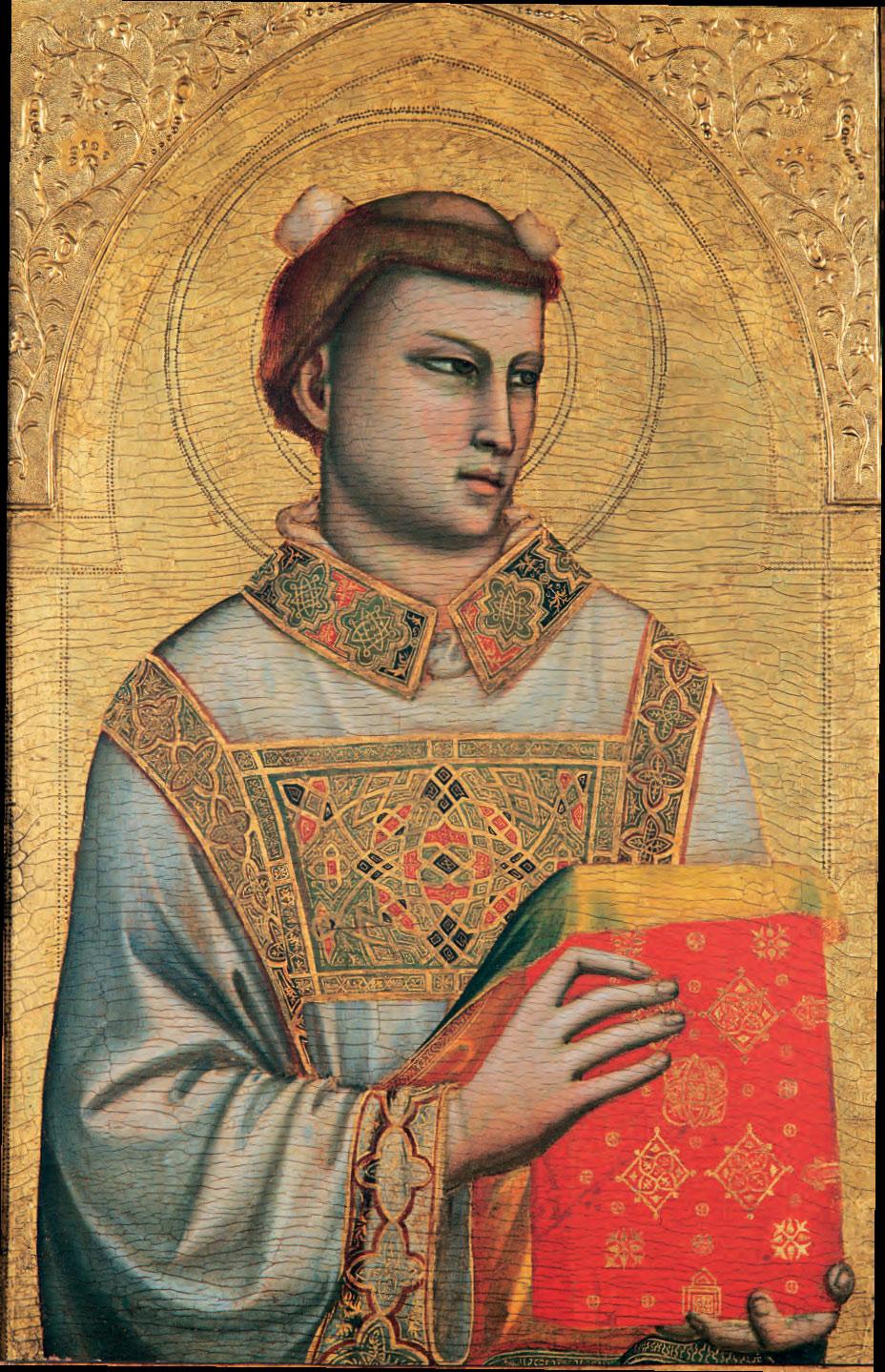Giotto, Santo Stefano (1325-1330; tempera e oro su tavola, 83,5 x 54 cm; Firenze, Museo Horne)