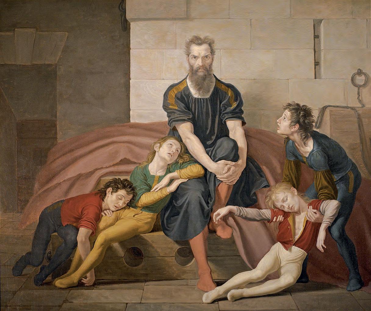 Giuseppe Diotti, Il conte Ugolino nella Torre (1831; circa olio su tela, 173,5 x 207,5 cm; Cremona, Museo Civico Ala Ponzone)