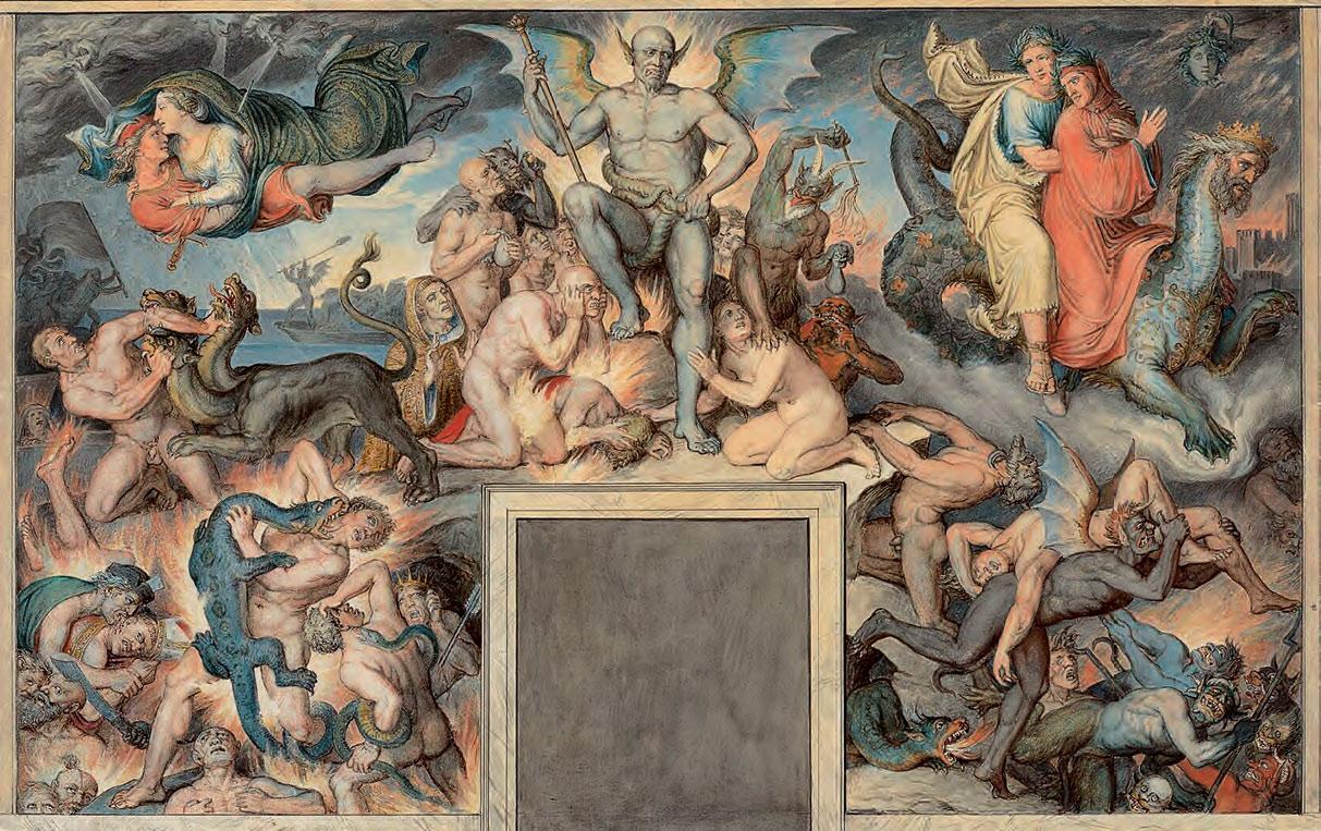 Joseph Anton Koch, L'Inferno (1825; acquerello, penna e inchiostro grigio e nero sopra a disegno tracciato a matita, 366 x 565 mm; Rotterdam, Museum Boijmans Van Beuningen)