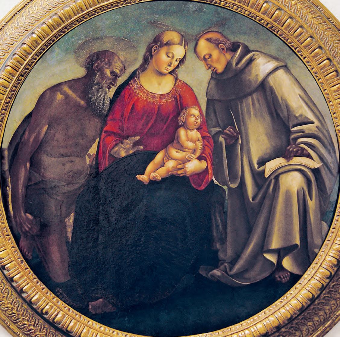 Luca Signorelli, Madonna con il Bambino e i santi Girolamo e Bernardo (1490-1496 circa; dipinto su tavola, diametro 114 cm; Fiesole, Museo Bandini, proprietà Fondazione Baduel Zamberletti)