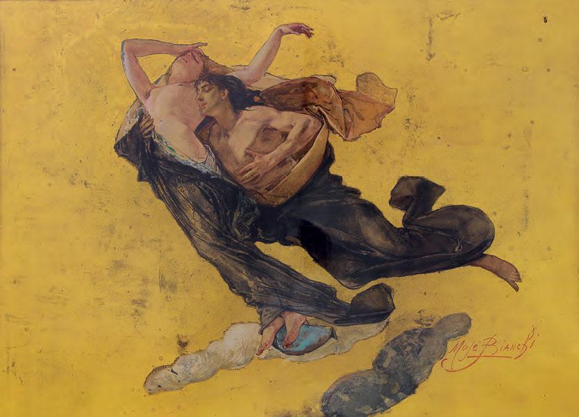 Mosè Bianchi, Paolo e Francesca (1888 circa; acquerello, tempera e foglia d'oro su carta, 533 x 746 mm; Milano, Galleria d'Arte Moderna)