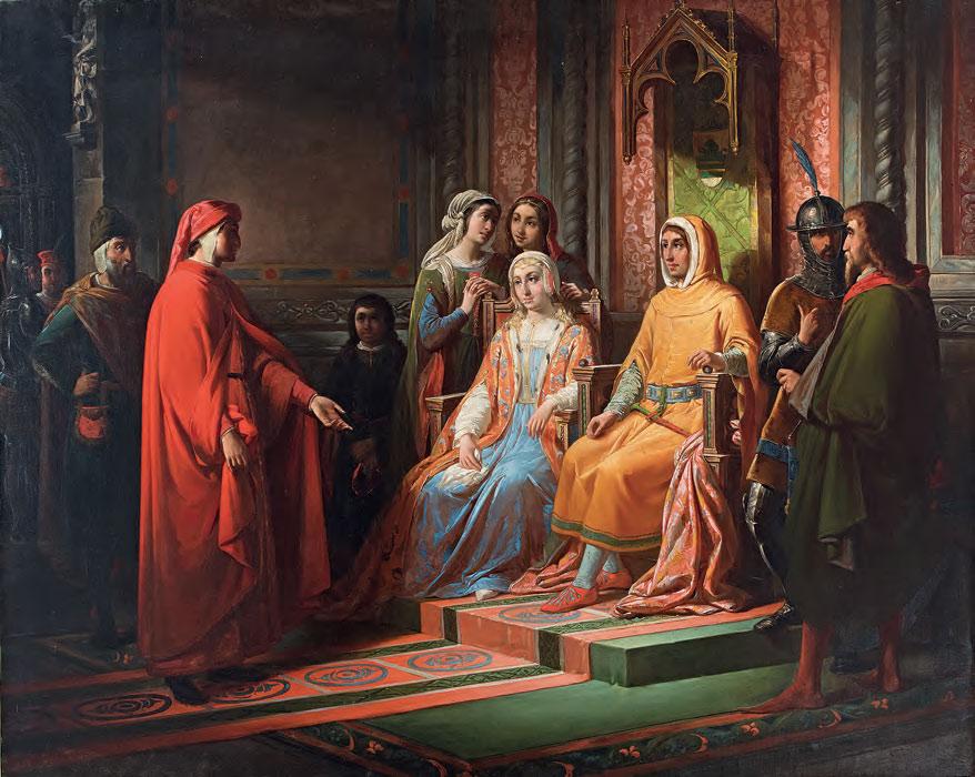 Pompeo Randi, Dante cerca di persuadere Scarpetta Ordelaffi a muovere contro Firenze (1854; olio su tela, 140 x 176 cm; Forlì, collezione privata)