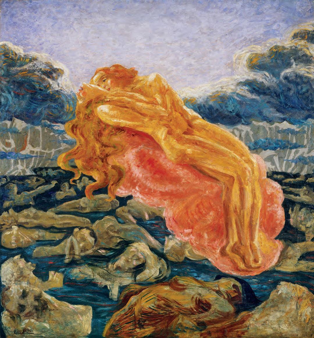 Umberto Boccioni, Il sogno (Paolo e Francesca) (1908-1909; olio su tela, 140 x 130 cm; collezione privata)