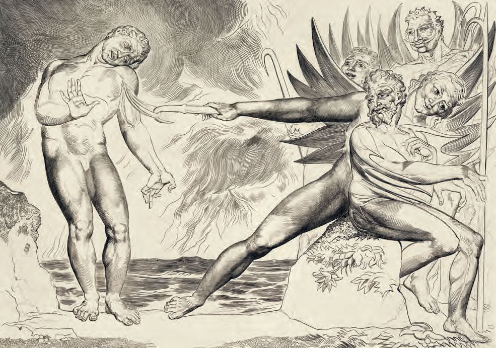 William Blake, Il girone dei barattieri, i diavoli tormentano Ciampolo (Inf., XXII) (1827; incisioni a bulino e puntasecca, 240 x 340 mm circa ciascuno; illustrazioni per la Divina Commedia di Dante Kerrison Preston Collection, Westminster Public Library)