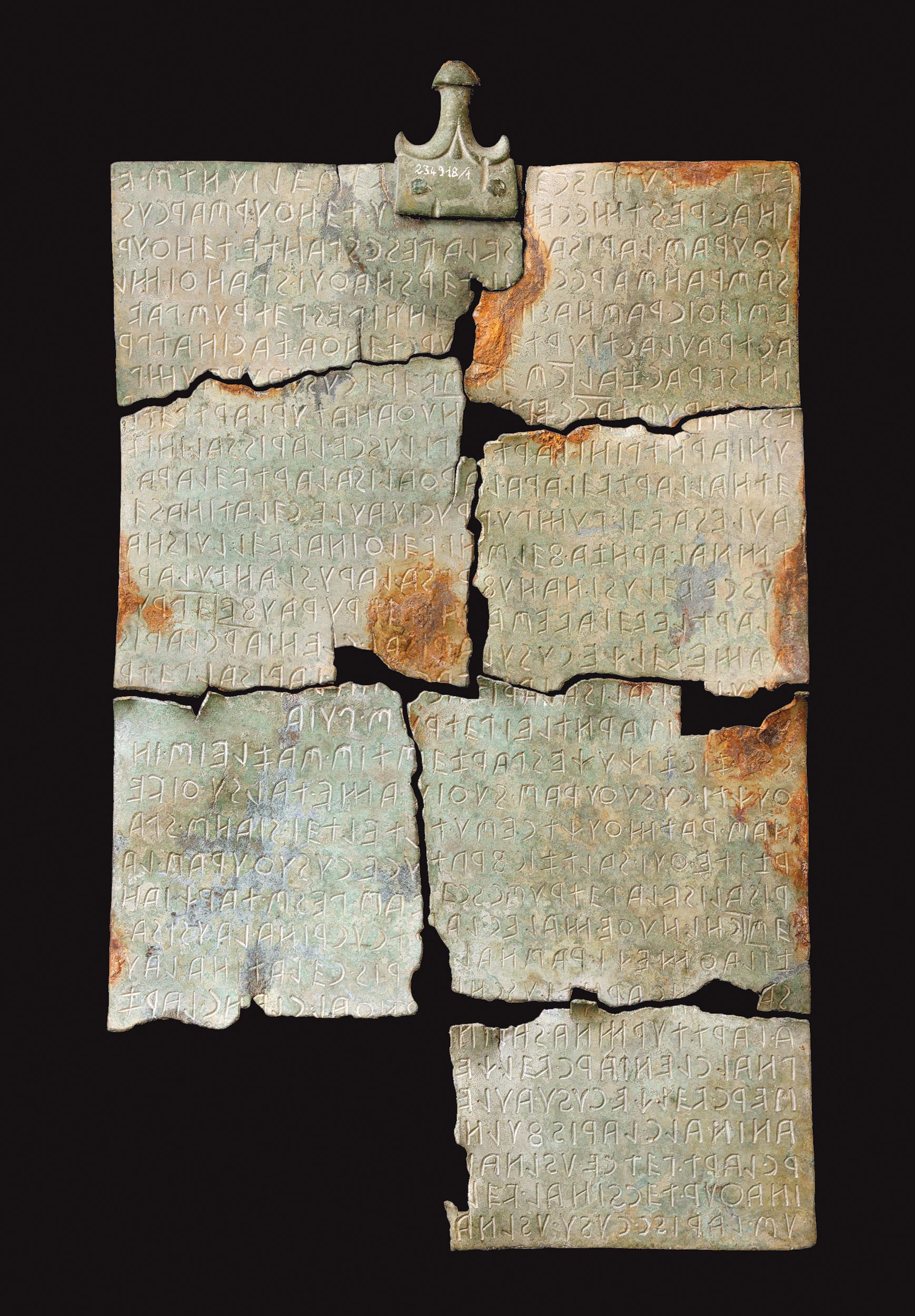 Tabula Cortonensis (II secolo a.C.; bronzo; Cortona, Museo dell'Accademia Etrusca e della Città di Cortona)