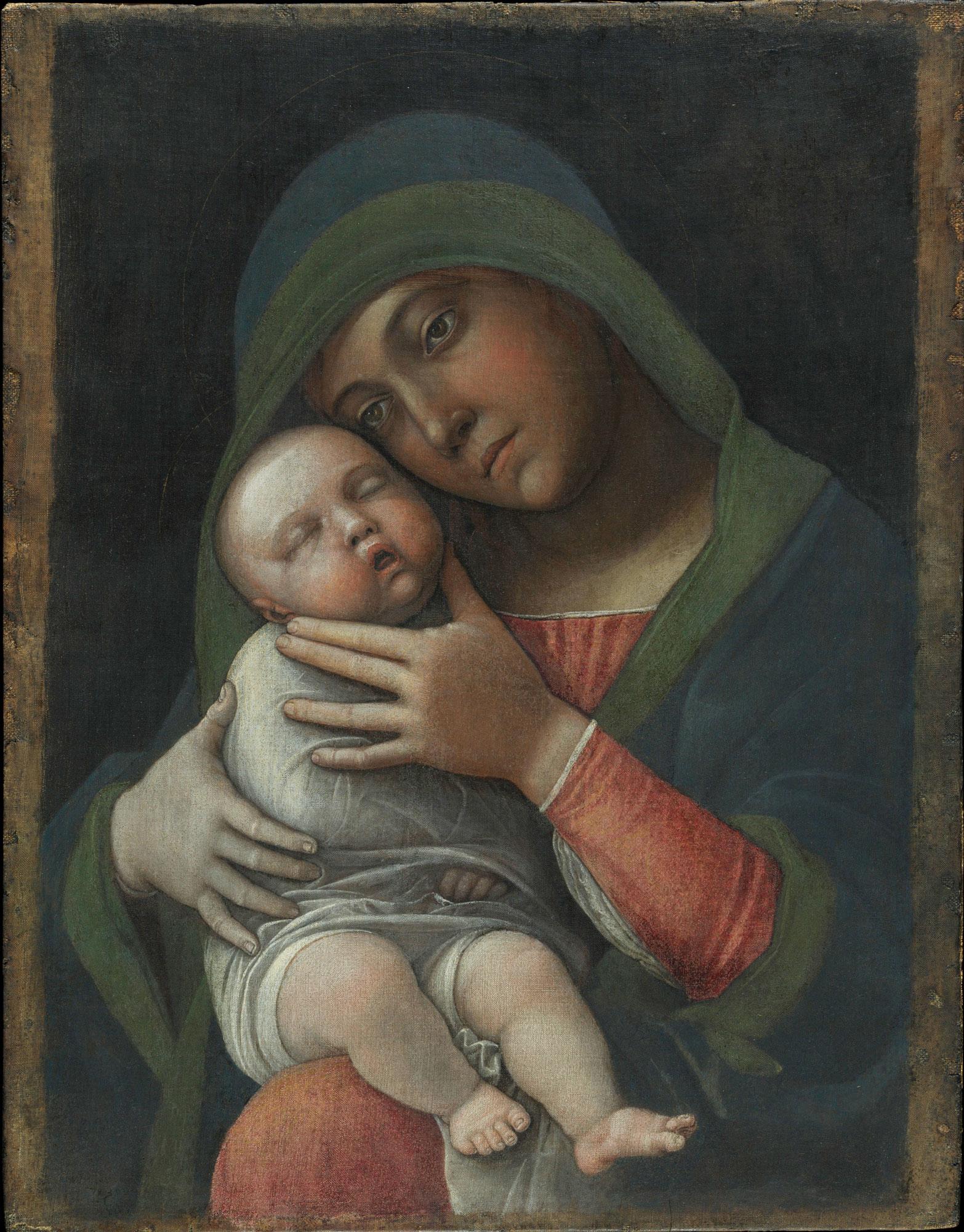 Andrea Mantegna, Madonna col Bambino (1490-1499; tempera magra su tela, 35,5 x 45,5 cm; Milano, Museo Poldi Pezzoli). Dopo il restauro