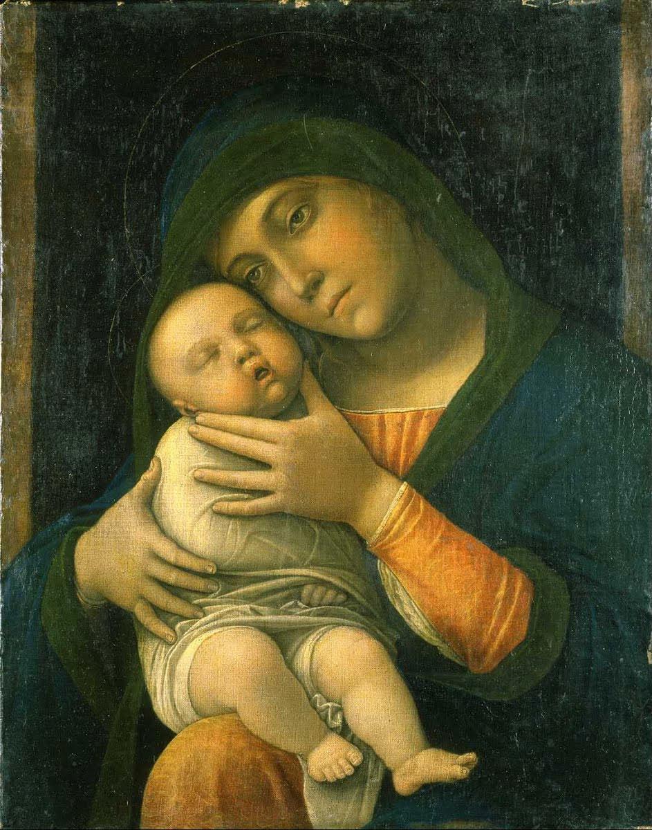 Andrea Mantegna, Madonna col Bambino (1490-1499; tempera magra su tela, 35,5 x 45,5 cm; Milano, Museo Poldi Pezzoli). Prima del restauro