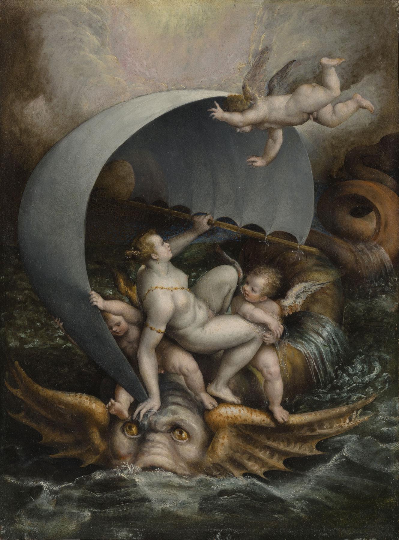 Lavinia Fontana, Galatea e amorini cavalcano onde della tempesta su un mostro marino (1590 circa; olio su rame, 48 x 36,5 cm; Collezione privata)
