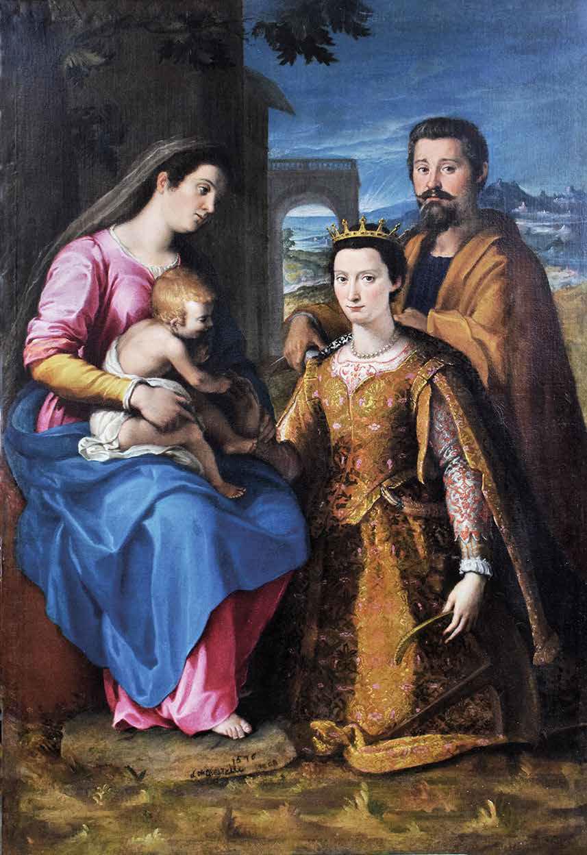 Lucrezia Quistelli, Matrimonio mistico di santa Caterina (1576; olio su tela, 180 x 120 cm; Silvano Pietra, chiesa parrocchiale di Santa Maria e San Pietro)