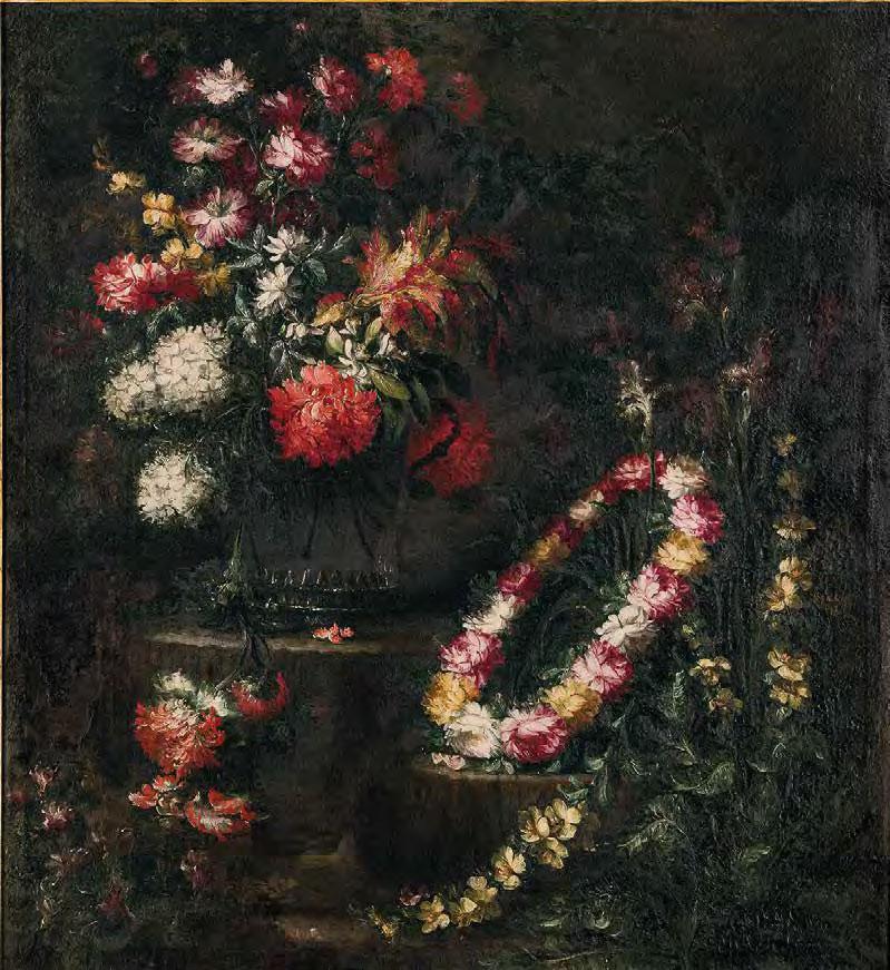 Margherita Volò, Vaso con fiori e ghirlanda di fiori (1685; olio su tela, 116 x 106,5 cm; Varallo, Palazzo dei Musei, Pinacoteca, inv. 3424-2014)