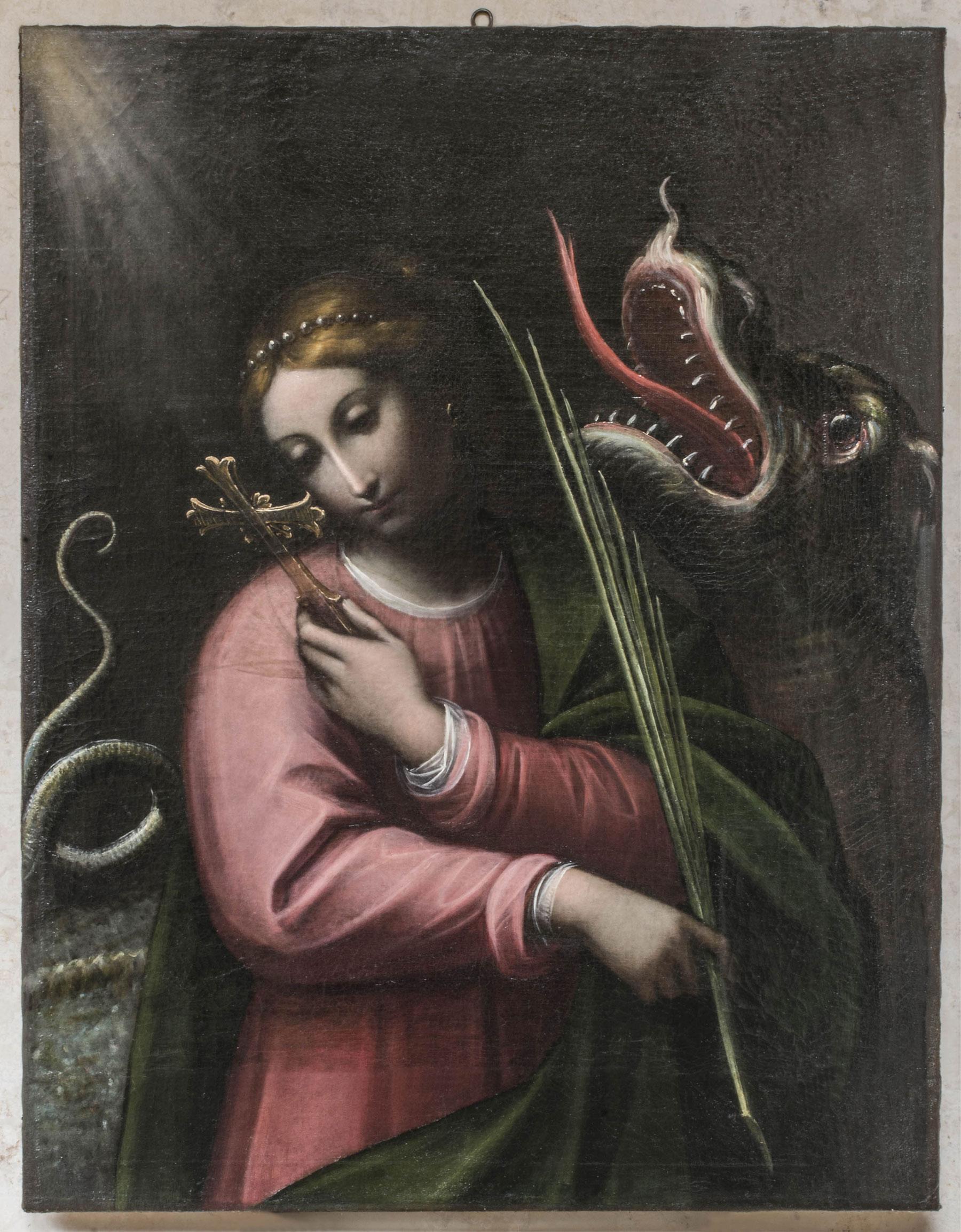 Orsola Maddalena Caccia, Santa Margherita d'Antiochia (1640-1650 circa; olio su tela, 95 x 73 cm; Curtatone, santuario della Beata Vergine delle Grazie)