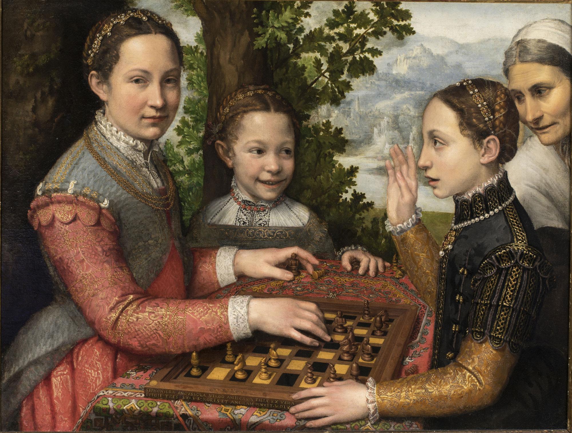 Sofonisba Anguissola, Partita a scacchi (1555; olio su tela, 70 x 94 cm; Poznań, Fundacja im. Raczyńskich przy Muzeum Narodowym w Poznaniu, MNP FR 434)