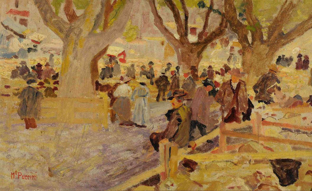 Mario Puccini, Mercato di montoni a Digne (olio su cartone; collezione Rangoni)