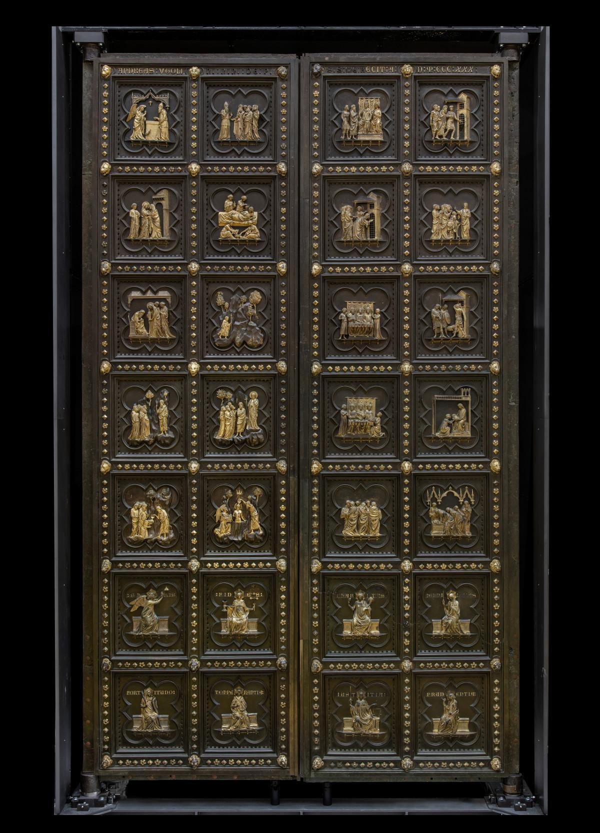 Andrea Pisano, Porta sud del Battistero di Firenze (1330-1336; bronzo dorato, 490 x 280 cm; Firenze, Museo del Duomo)