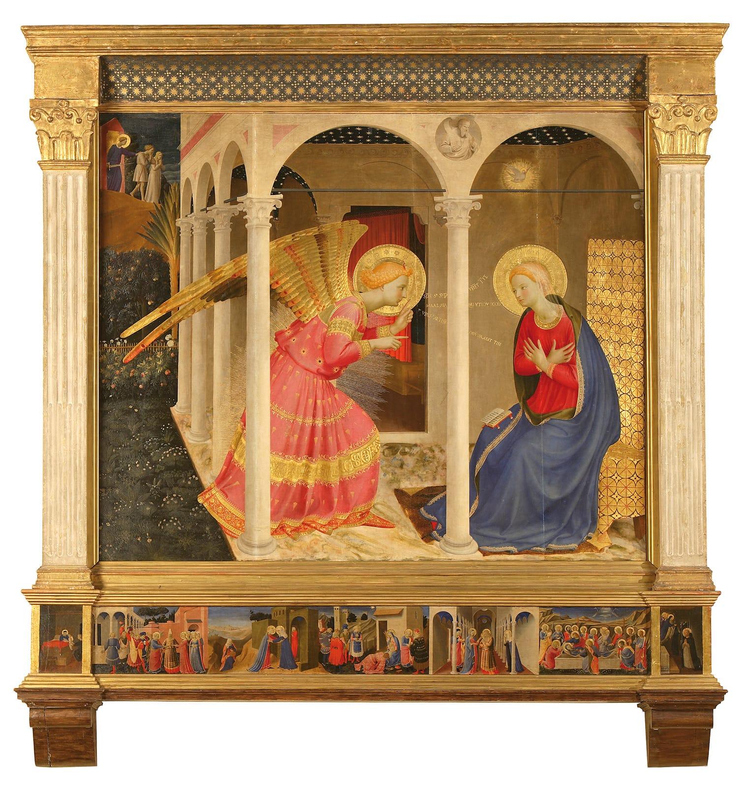 Beato Angelico, Annunciazione (1434-1436 circa; tempera su tavola, 175 x 180 cm; Cortona, Museo Diocesano)