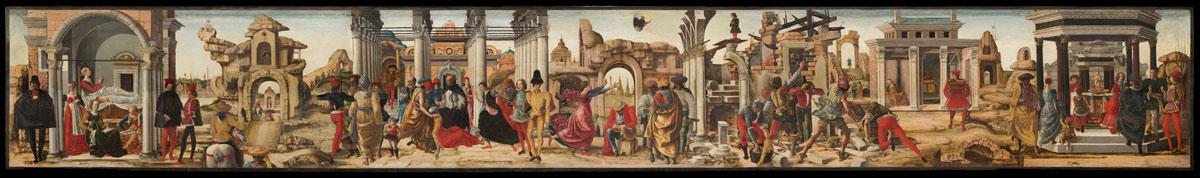 Ercole de' Roberti, Storie di san Vincenzo Ferrer, dal Polittico Griffoni (1470-1472; tempera su tavola, 27,5 x 214 cm; Città del Vaticano, Musei Vaticani, Pinacoteca Vaticana, inv. 286)