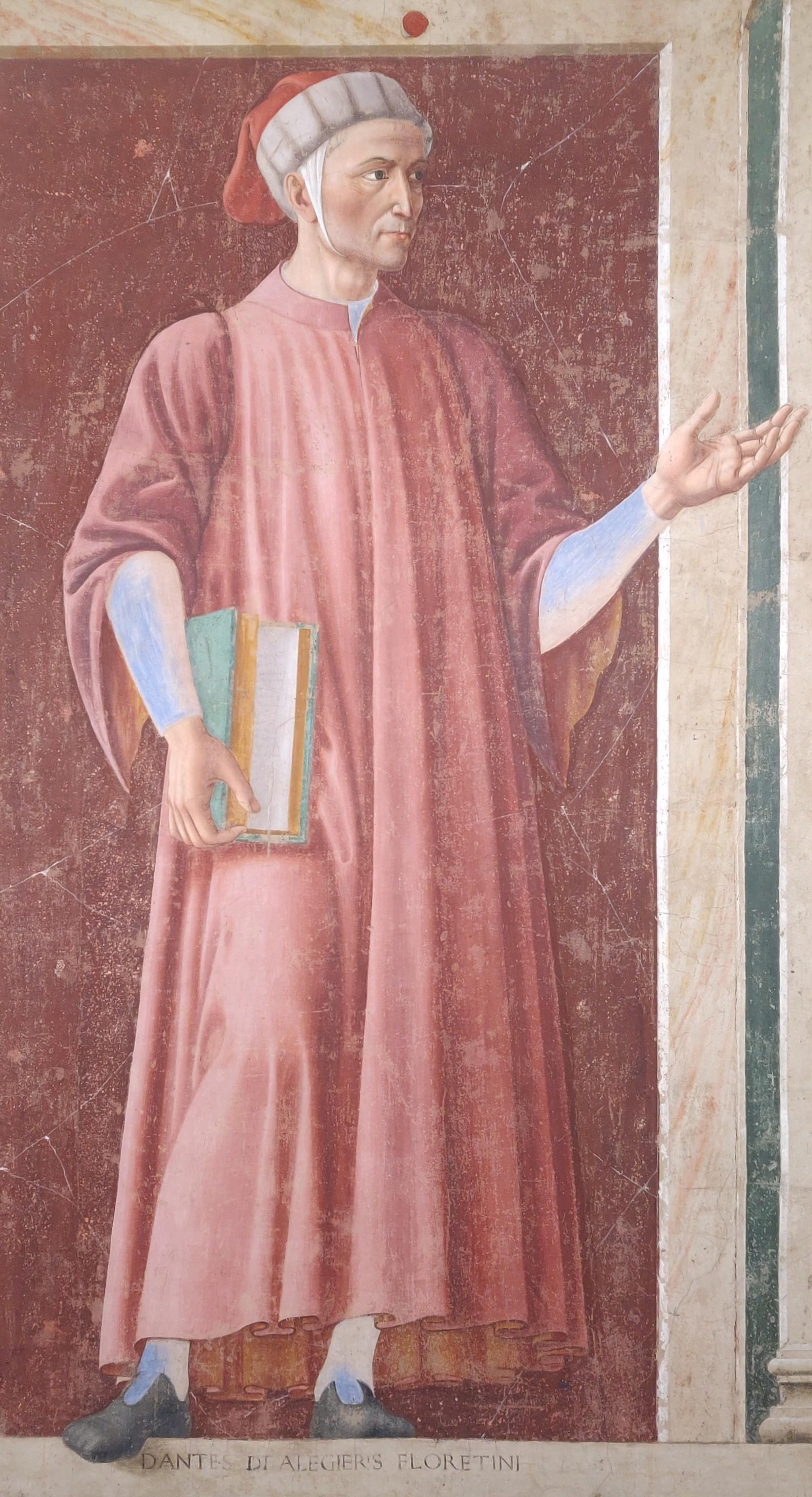 Andrea del Castagno, Dante Alighieri, dal ciclo degli Uomini e donne illustri (1450 circa; affresco staccato e trasportato su tela, 250 x 150 cm; Firenze, Gallerie degli Uffizi, Gallerie delle Statue e delle Pitture)
