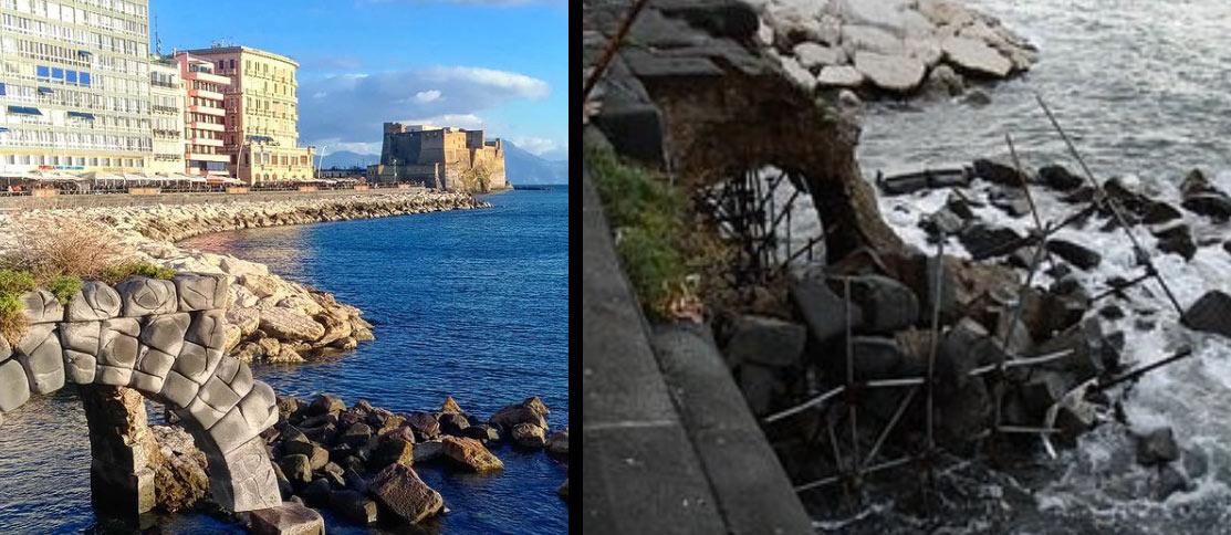 Mareggiata a Napoli, crolla l'Arco Borbonico: la soprintendenza aveva imposto il restauro