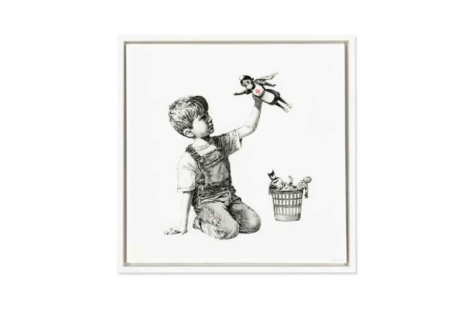 Va in asta il bimbo di Banksy che gioca con l'infermiera-eroina. Il ricavato in beneficenza