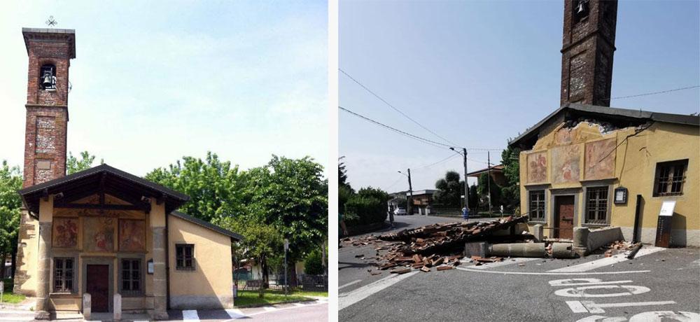 Bergamo, tir sbaglia manovra: abbatte porticato della chiesa e danneggia affreschi di Baschenis