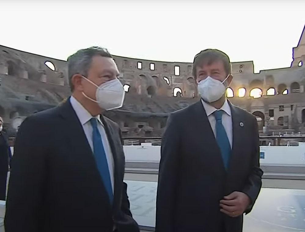 """Colosseo, battuta di Draghi a Franceschini: """"se uno ascolta troppo gli esperti non fa niente"""""""