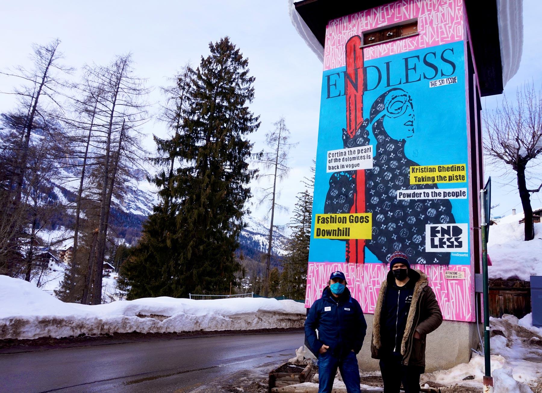 Lo street artist Endless realizza un murale a Cortina d'Ampezzo per i mondiali di sci