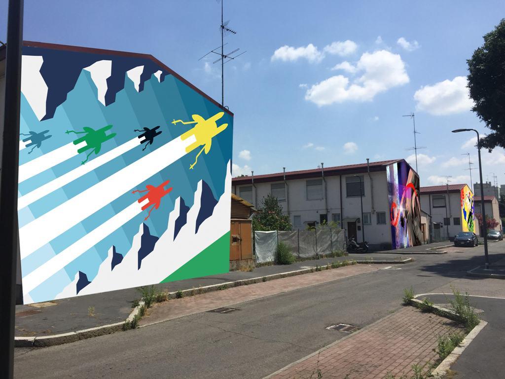 Milano, murales e street art a tema Olimpiadi al Villaggio dei Fiori