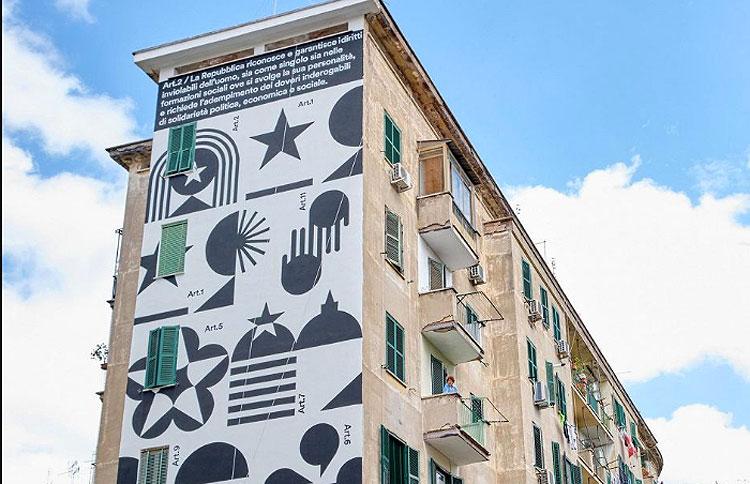 A Roma la street art celebra la Costituzione italiana con un grande murale