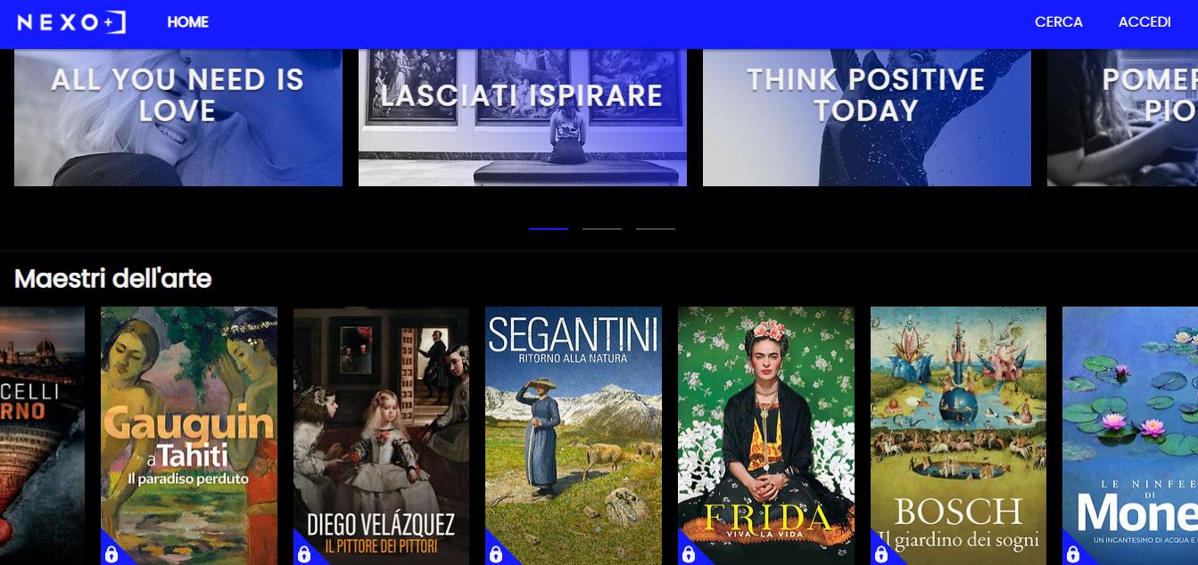 Nexo lancia la sua piattaforma on demand, tutta dedicata a cultura e cinema
