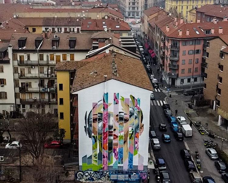 Milano, Orticanoodles reinterpreta il ritratto dell'étoile Aida Accolla in un grande murale